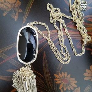 Kendra Scott Rayne Necklace Gold/ Black Granite.